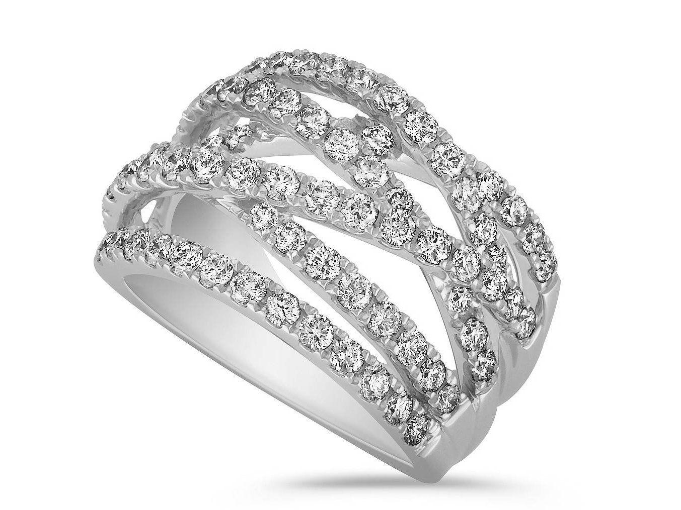 Wedding Band CrissCross Diamond Wedding Ring 1.5 TCW