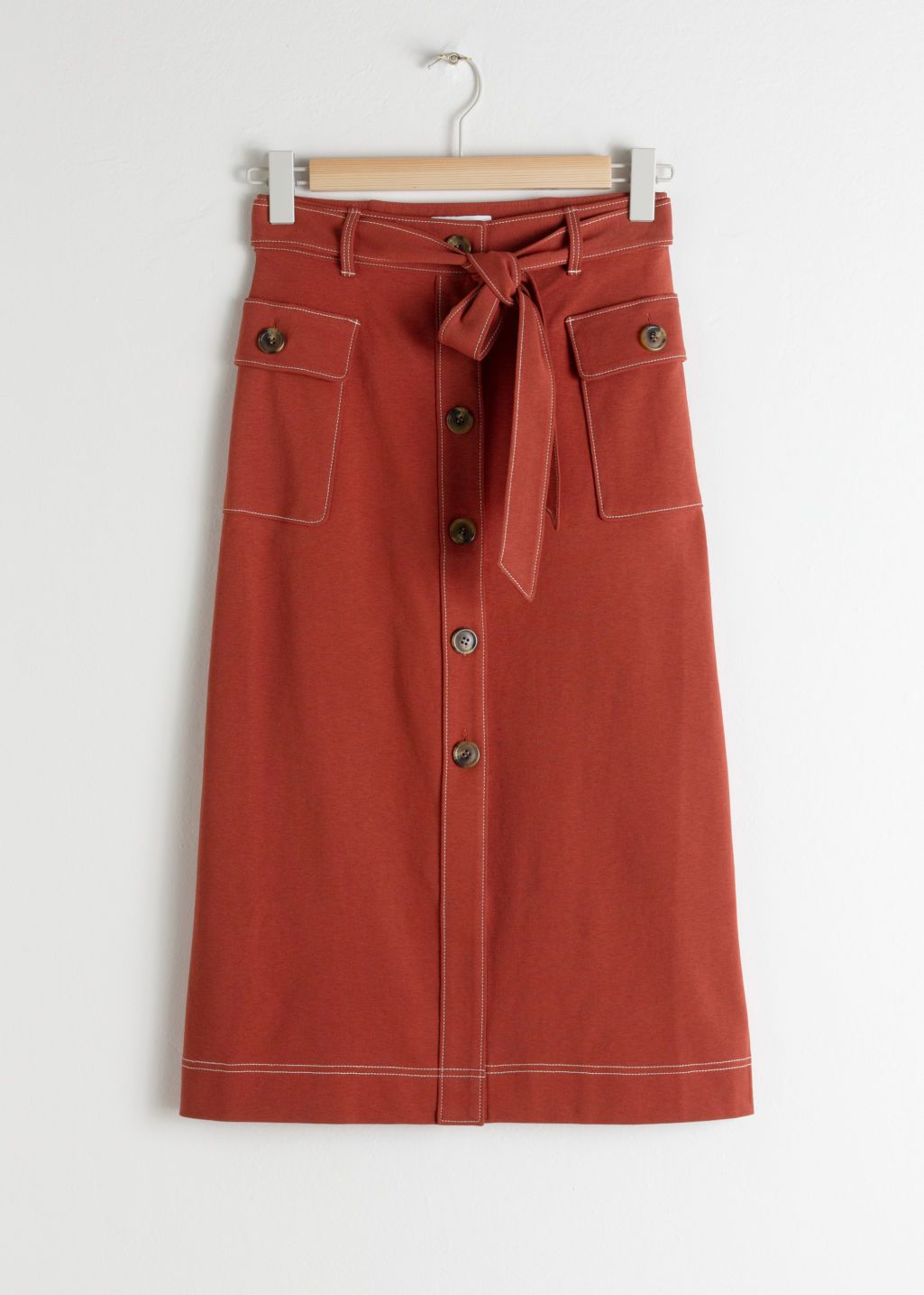 3b0592dc01 Belted A-Line Workwear Midi Skirt - Rust - Midi skirts - & Other Stories