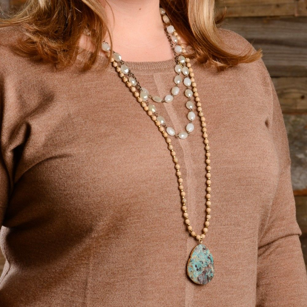 Betsy Pittard's Jasper necklace paired with her Maddie necklace.