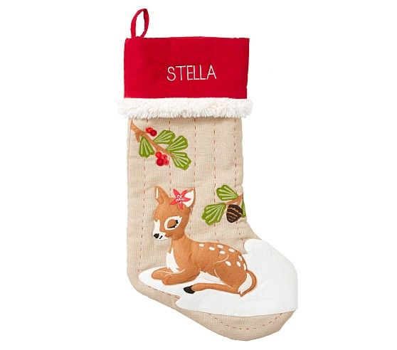 Deer Woodland Stocking In 2020 Pottery Barn Christmas