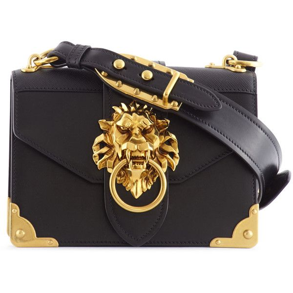 3dda2401476e PRADA CAHIER LION HEAD LEATHER BAG ($2,200) ❤ liked on Polyvore featuring  bags, handbags, real leather purses, leather purses, genuine leather purse,  ...