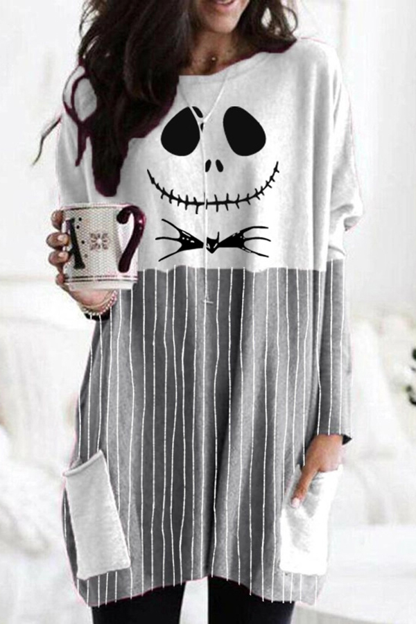 Halloween Ghost Face Striped Print Color-block Paneled T-shirt - Urwes