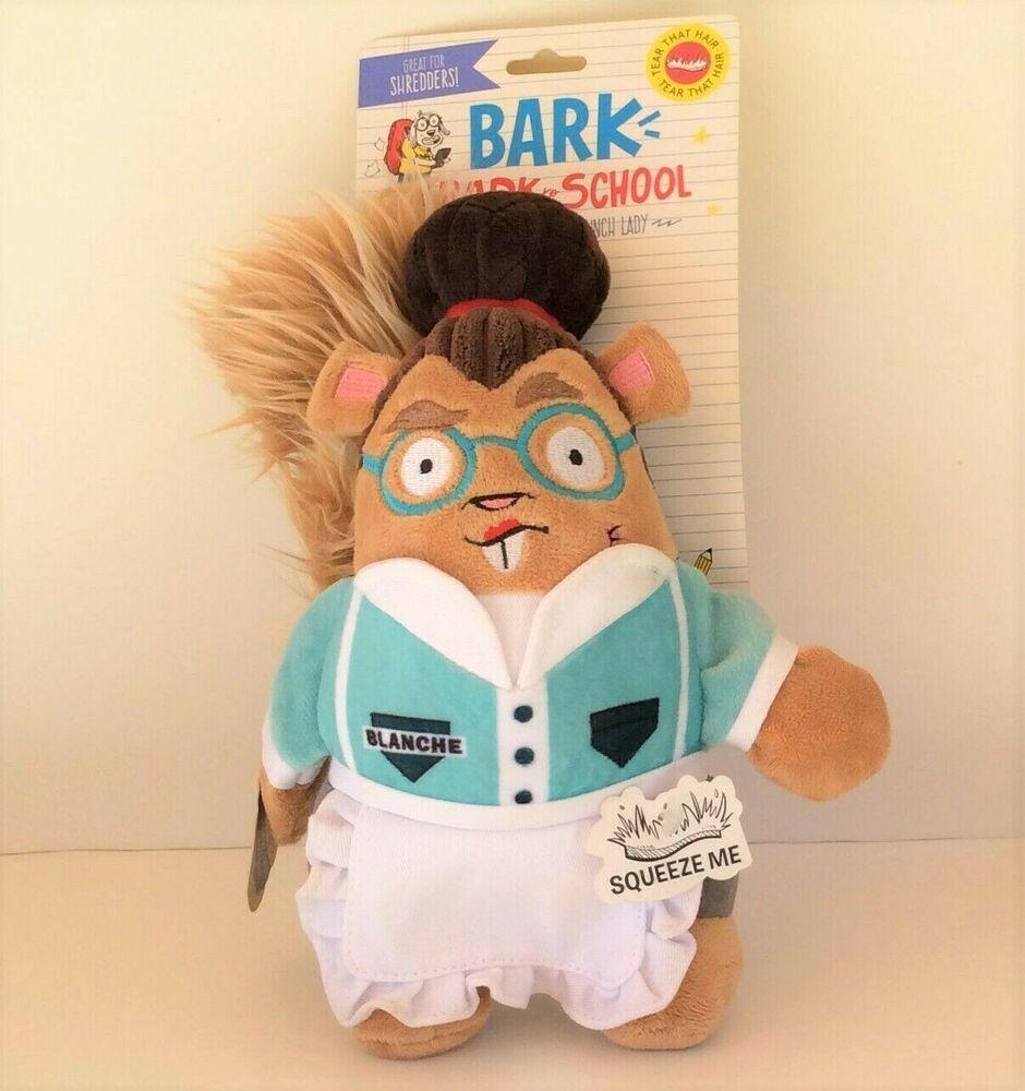 Bark to school barkbox ms blanche lunch lady squirrel dog