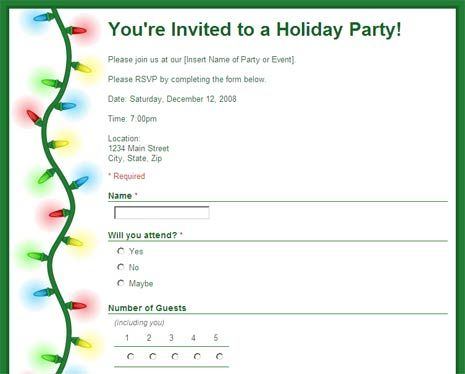 Party Rsvp Form To Collect Replies Google Docs Template Party Invite Template Birthday Invitation Templates Invitation Template