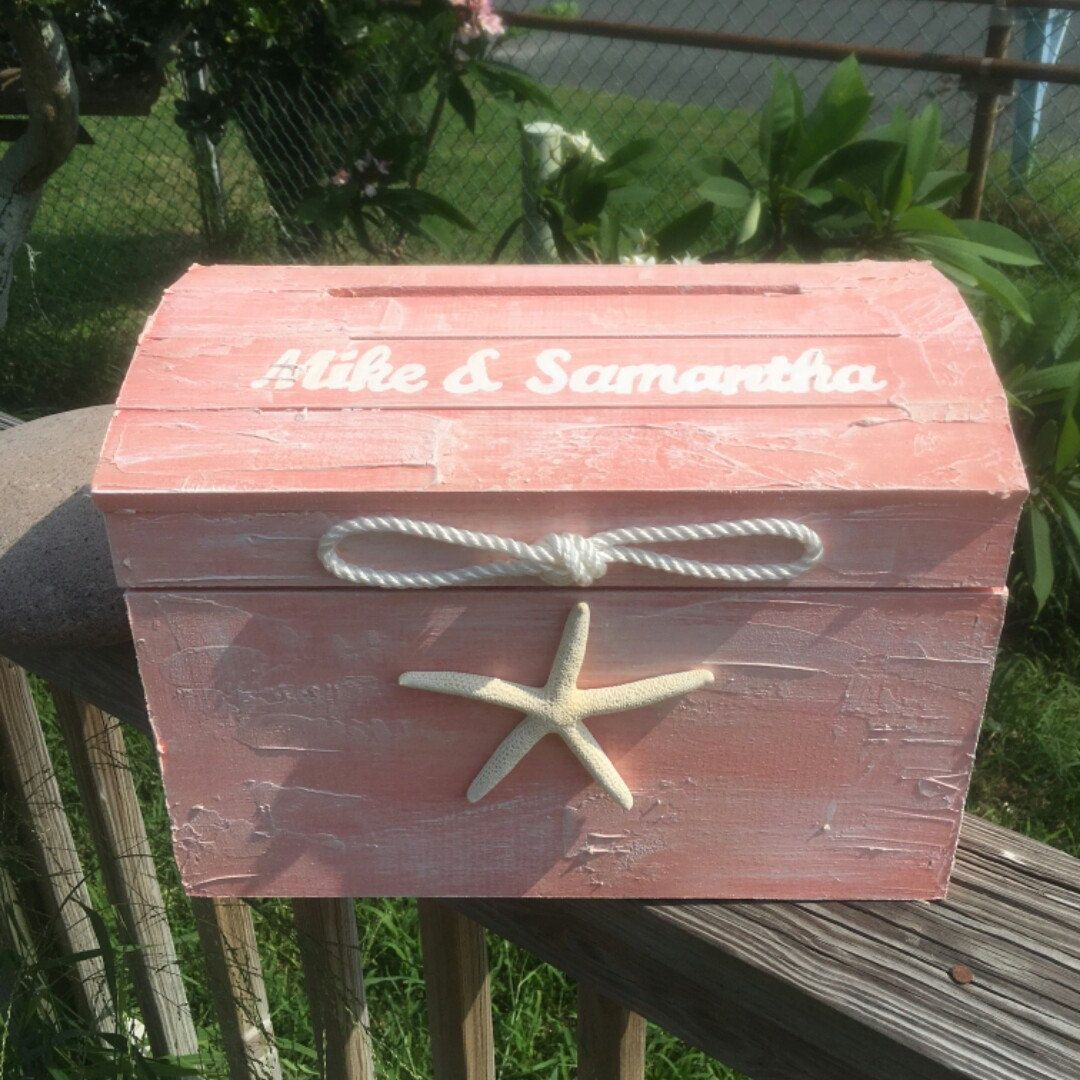Treasure Chest Card Holder Box Personalize Nautical Ocean Beach ...