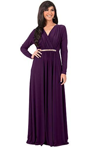 e8f52166d35813 KOH KOH Plus Size Womens Long Sleeve Sleeves Kaftan VNeck Flowy Formal  Wedding Guest Fall Winter Evening Day Empire Waist Abaya Muslim Gown Gowns  Maxi Dress ...