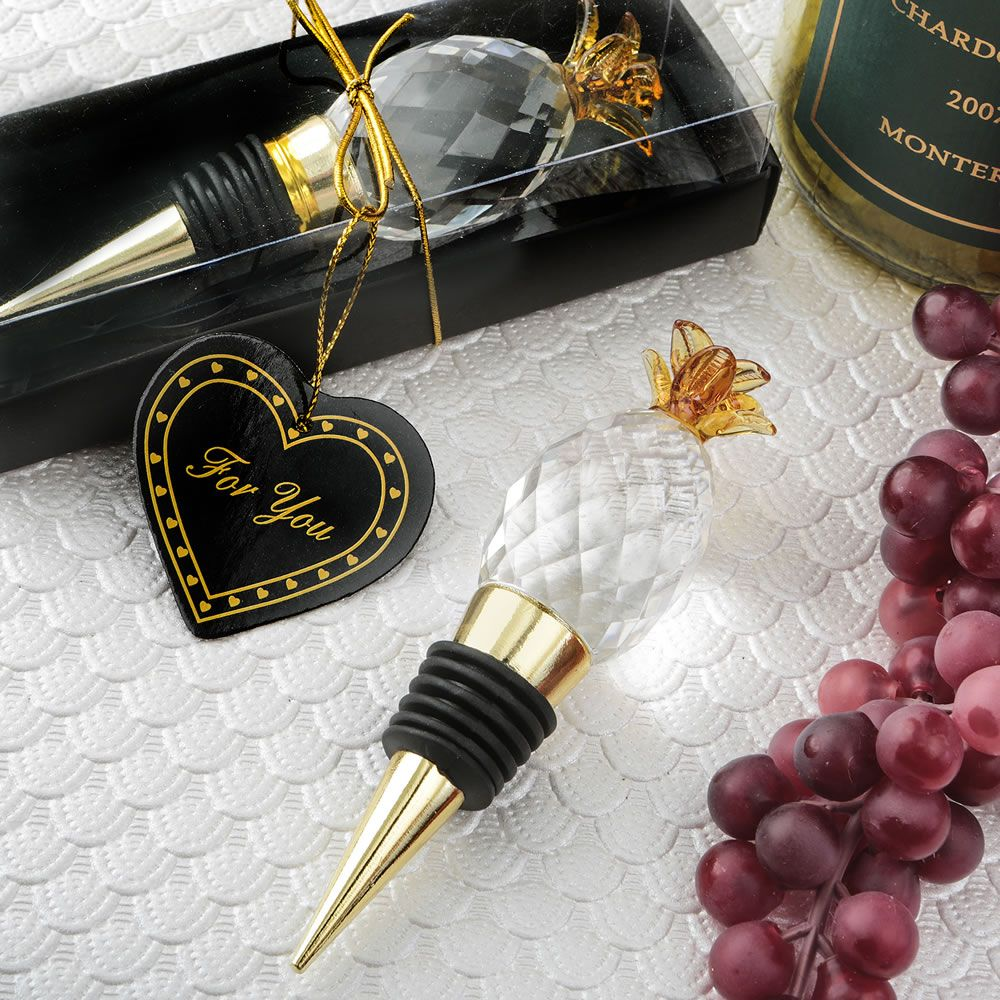 Elegant Gold and Crystal Pineapple Wine Bottle Stopper Favors | Gold ...