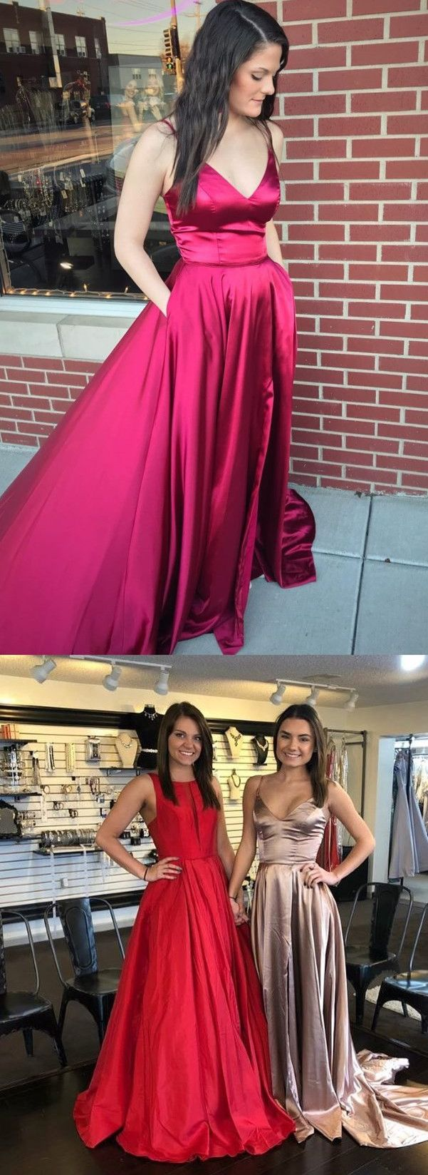 Eleagnt aline straps redchampagne long prom dress ball gown