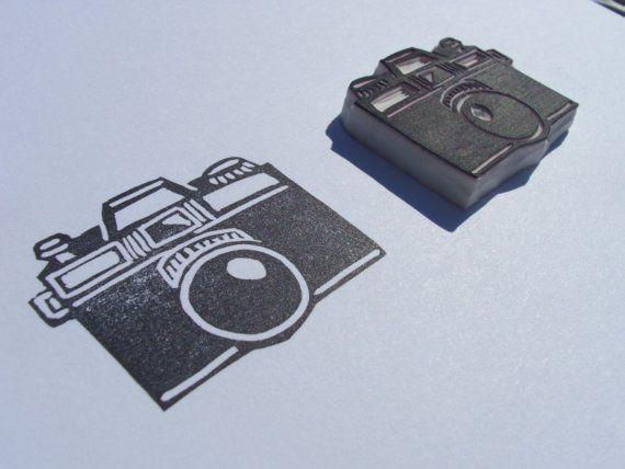 Hand Carved Camera Stamp - SplishySplash Craft