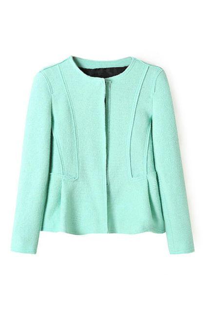 Buy Falbala Sheer Green Coat from abaday.com, FREE shipping Worldwide - Fashion Clothing, Latest Street Fashion At Abaday.com