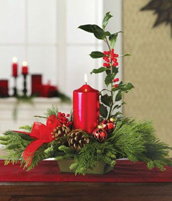 Holly Christmas Centerpiece At From You Flowers Christmas Flowers Centerpieces Christmas Floral Arrangements Christmas Table Decorations