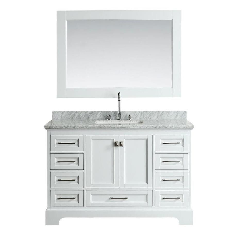 Design Element Omega 54 In White Single Sink Bathroom Vanity With