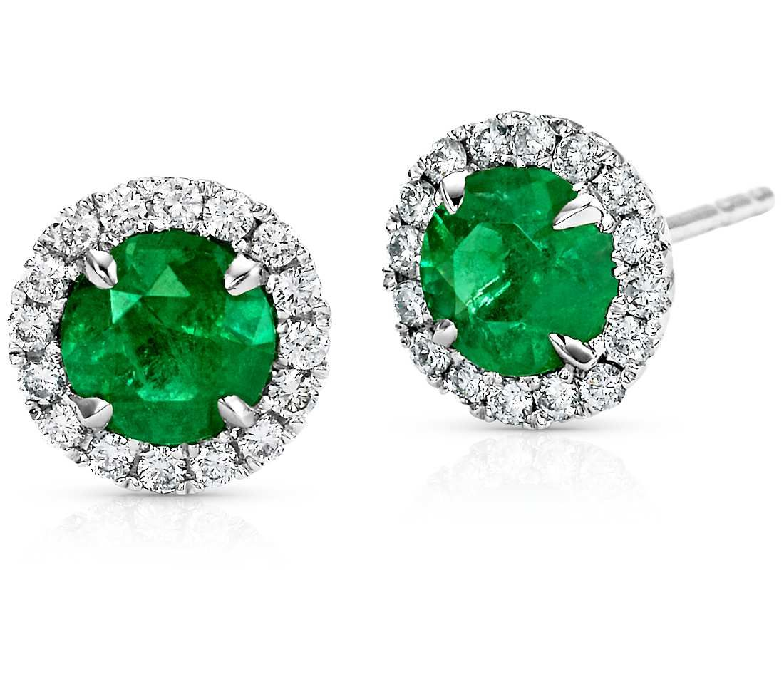 Emerald and micropavé diamond stud earrings in k white gold mm