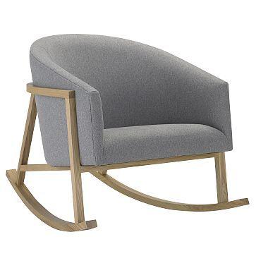 Marvelous West Elm // Ryder Rocking Chair, Marled Microfiber, Heather Gray