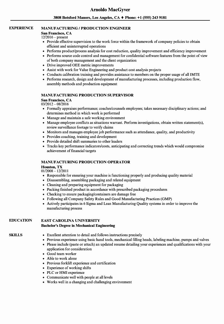Production Manager Resume Examples Beautiful Manufacturing