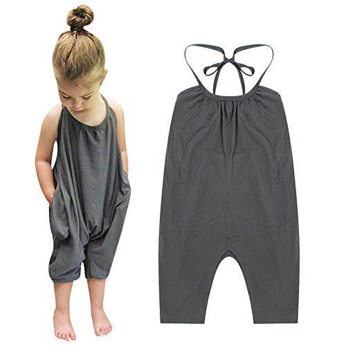 Chinatera Little Girls Kids Halter Romper Harem Pants One-Piece Jumpsuit Cotton