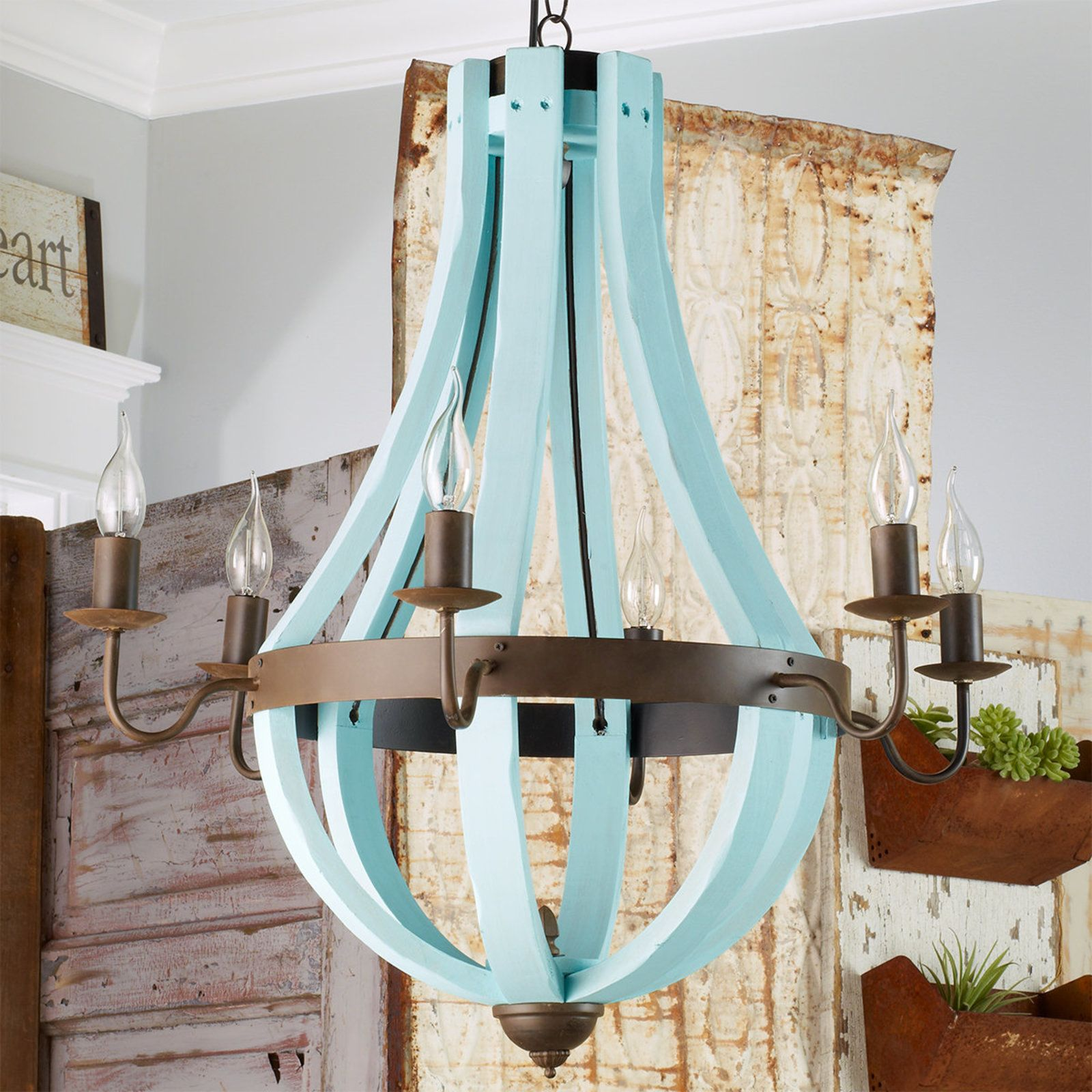 Wooden wine barrel stave chandelier barrels chandeliers and wine wooden wine barrel stave chandelier arubaitofo Gallery