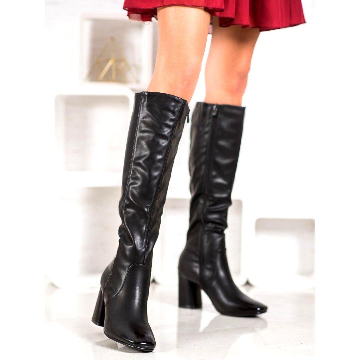 Super Mode Eleganckie Kozaki Z Eko Skory Czarne Boots Over Knee Boot Shoes