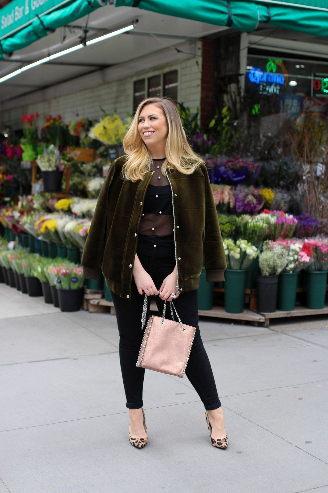 4cb5158419089e How to Wear a Bomber Jacket Spring 2018 New York Outfit Living After  Midnite Jackie Giardina
