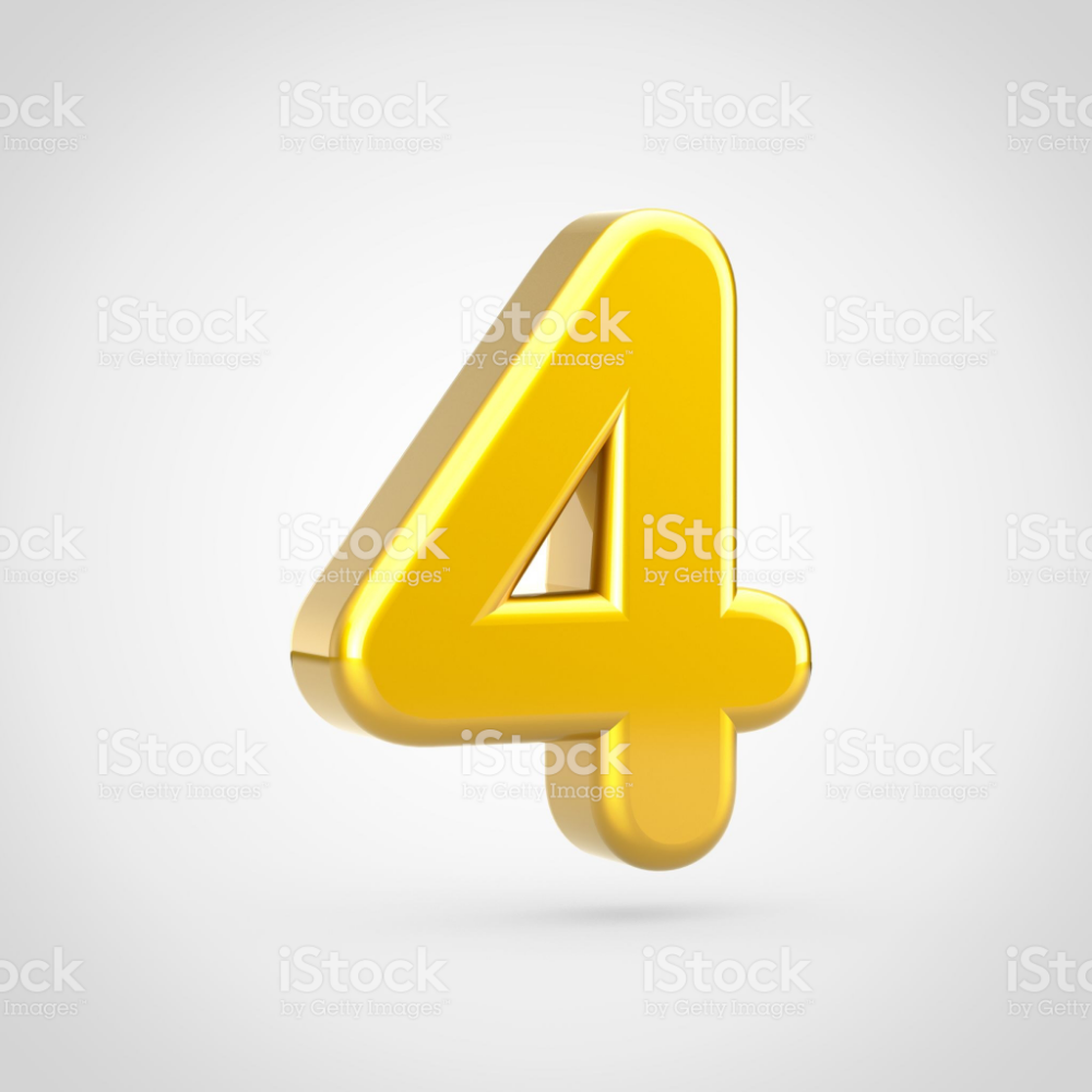 Golden Number 4 3d Render Font With Gold Texture Isolated On White Golden Number Alphabet Photos Stock Images Free