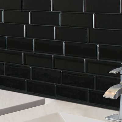 Smart Tiles Metro Nero 8 X 12 Gel Peel Stick Mosaic Tile In 2021 Smart Tiles Stick On Tiles Peel And Stick Tile