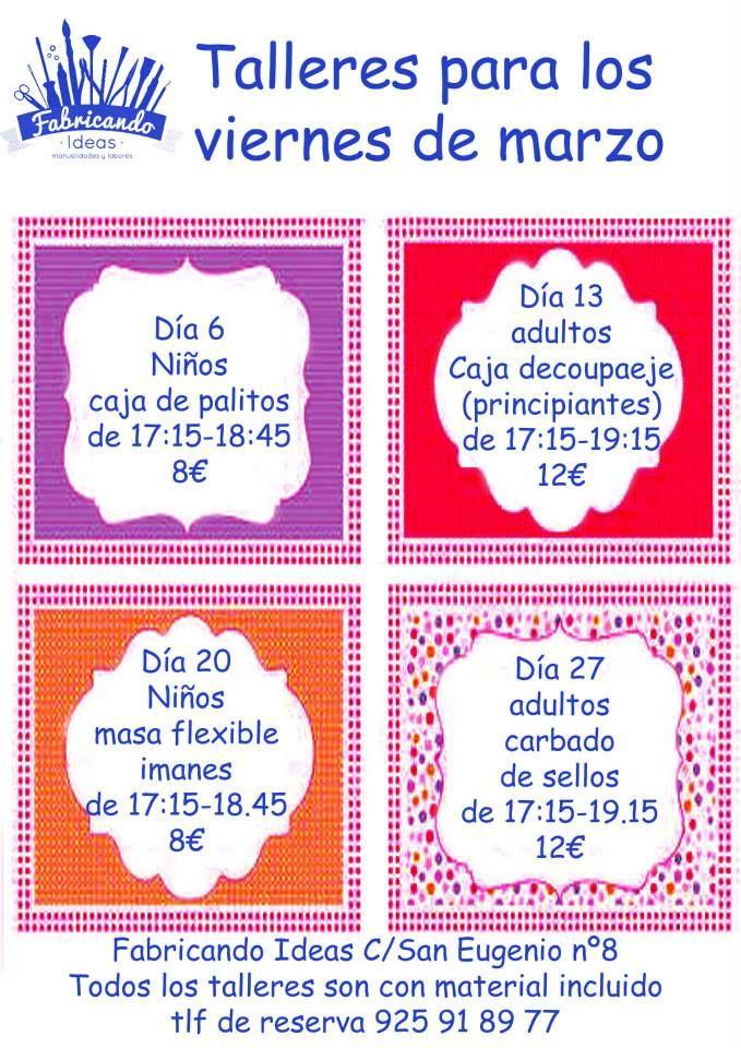 Talleres Infantiles De Manualidades Para El Mes De Marzo En Toledo