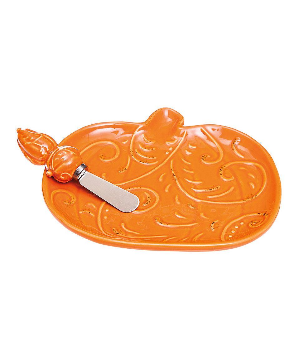 Orange Pumpkin Ceramic Plate & Spreading Knife by Cypress Home #zulily #zulilyfinds