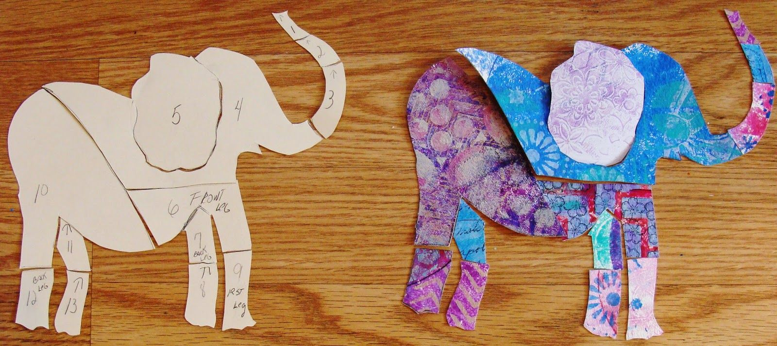 Diane salter turns her 4 and 6 round gelli prints into these her and round prints into these fabulous elephants which will be part of her mixed media collage my art journal round gelli plate tutorial part 2 baditri Gallery