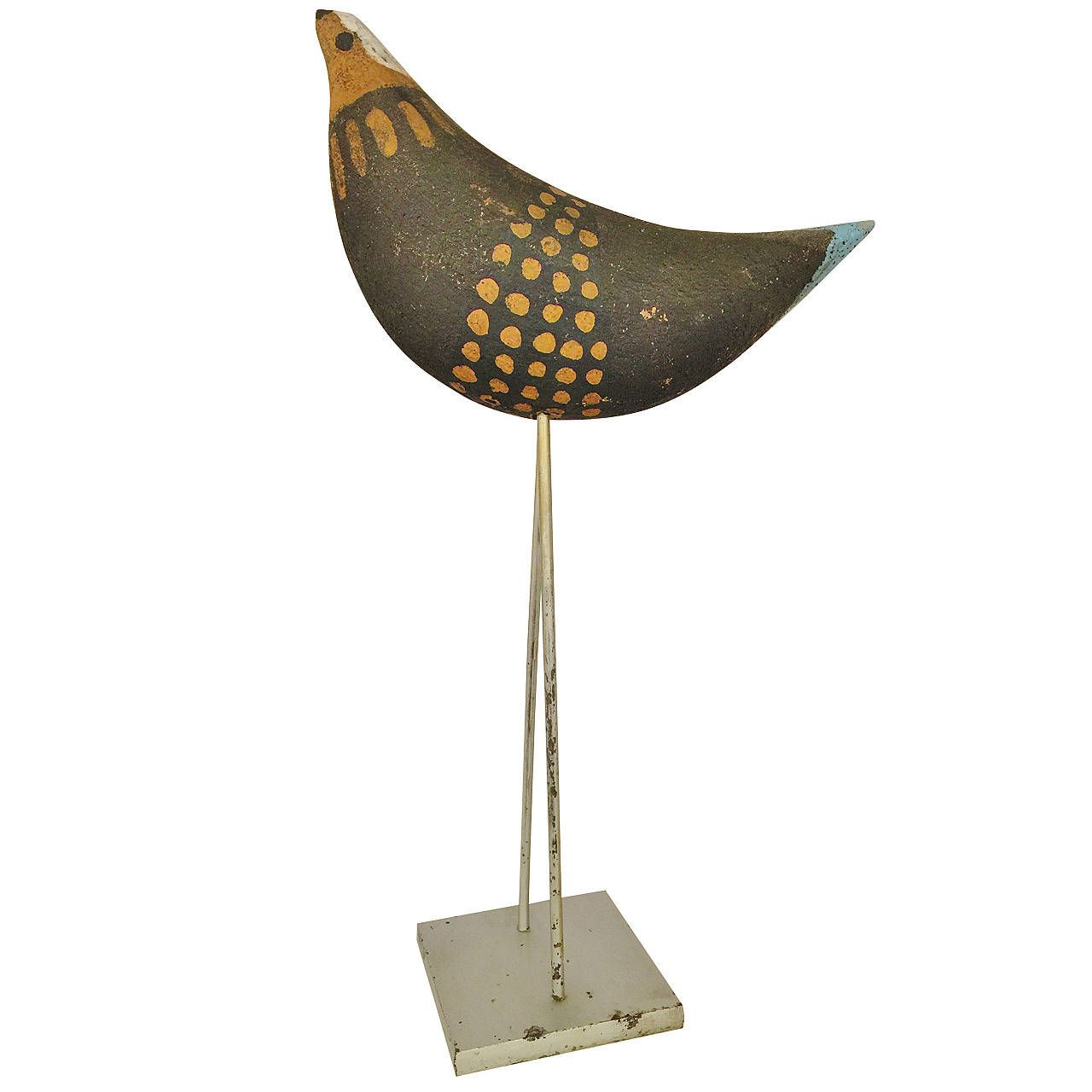 Aldo Londi for Bitossi Ceramic Bird on Stilts | From a unique collection of antique and modern pottery at https://www.1stdibs.com/furniture/dining-entertaining/pottery/
