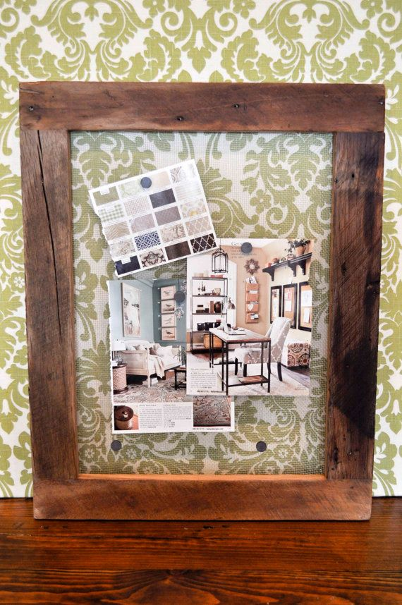 Up cycled barn wood magnetic display board by DohlerDesigns, $49.00  Try one of these boards for design inspirations, photos, or a calendar