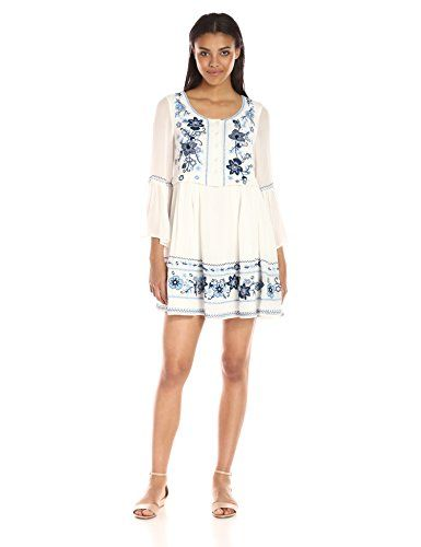 bd55c6fa512 French Connection Womens Sunshine Bloom Long Sleeve Dress Summer WhiteVista  Blue 12    Be sure to check out this awesome product.