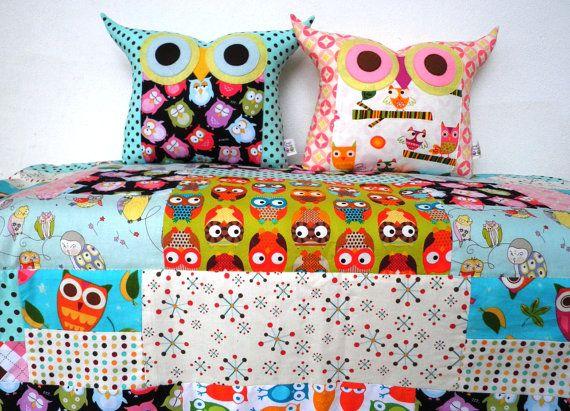 Owl quilt + pillows