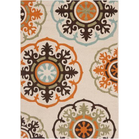 Safavieh Veranda Maras Indoor/Outdoor Area Rug, Cream and Terracotta, White