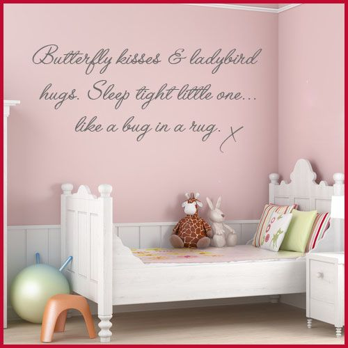 BABY NURSERY | BUTTERFLY KISSES CHILDRENS BABY NURSERY WORD ART Wall  Sticker Decals