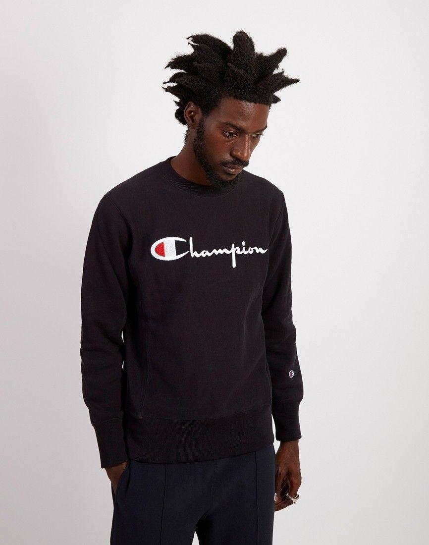 Champion Crewneck Sweatshirt Large Script Logo Black Mens Sweatshirts Hoodie Mens Fashion Suits Casual Mens Winter Fashion Outfits [ 1100 x 866 Pixel ]