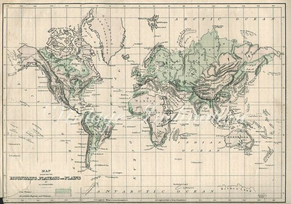 1873 antique world map of the world 1800s atlas mountain regions map sale 1873 antique world map of the world by vintageinclination 1000 gumiabroncs Image collections