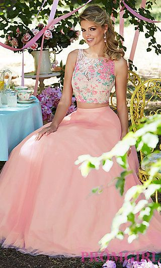 Rosette Pink Two-Piece Long Prom Dress by Mori Lee at PromGirl.com