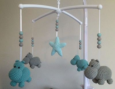 Amigurumi Sheep Baby Mobile : Hippos! probably wouldn't use it in a baby mobile but for a baby