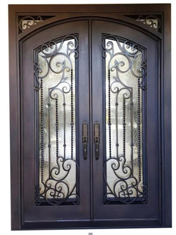 Double Door 94 Wrought Iron Doors Iron Doors Modern Mediterranean Front Doors