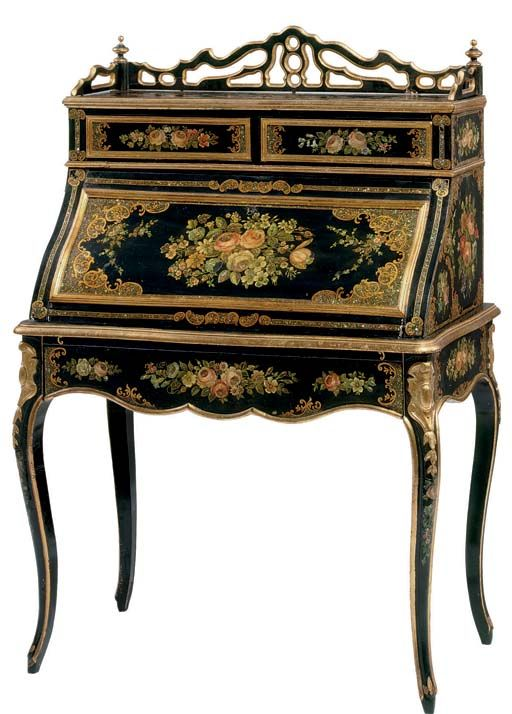 napoleon iii parcel gilt polychrome decorated and mother of pearl inlaid secretaire style. Black Bedroom Furniture Sets. Home Design Ideas