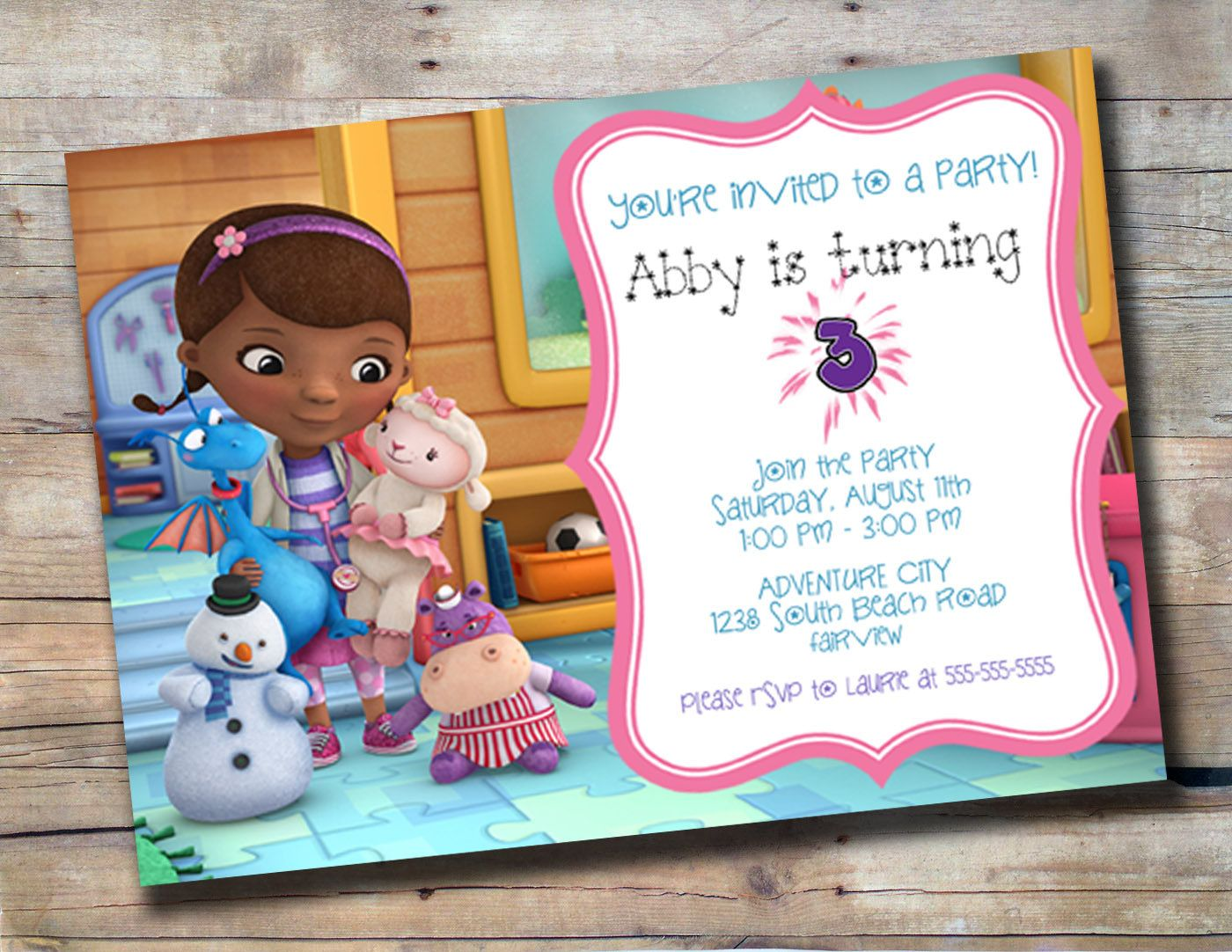 Cute Doc McStuffins customized birthday invitation. $10.00 ...