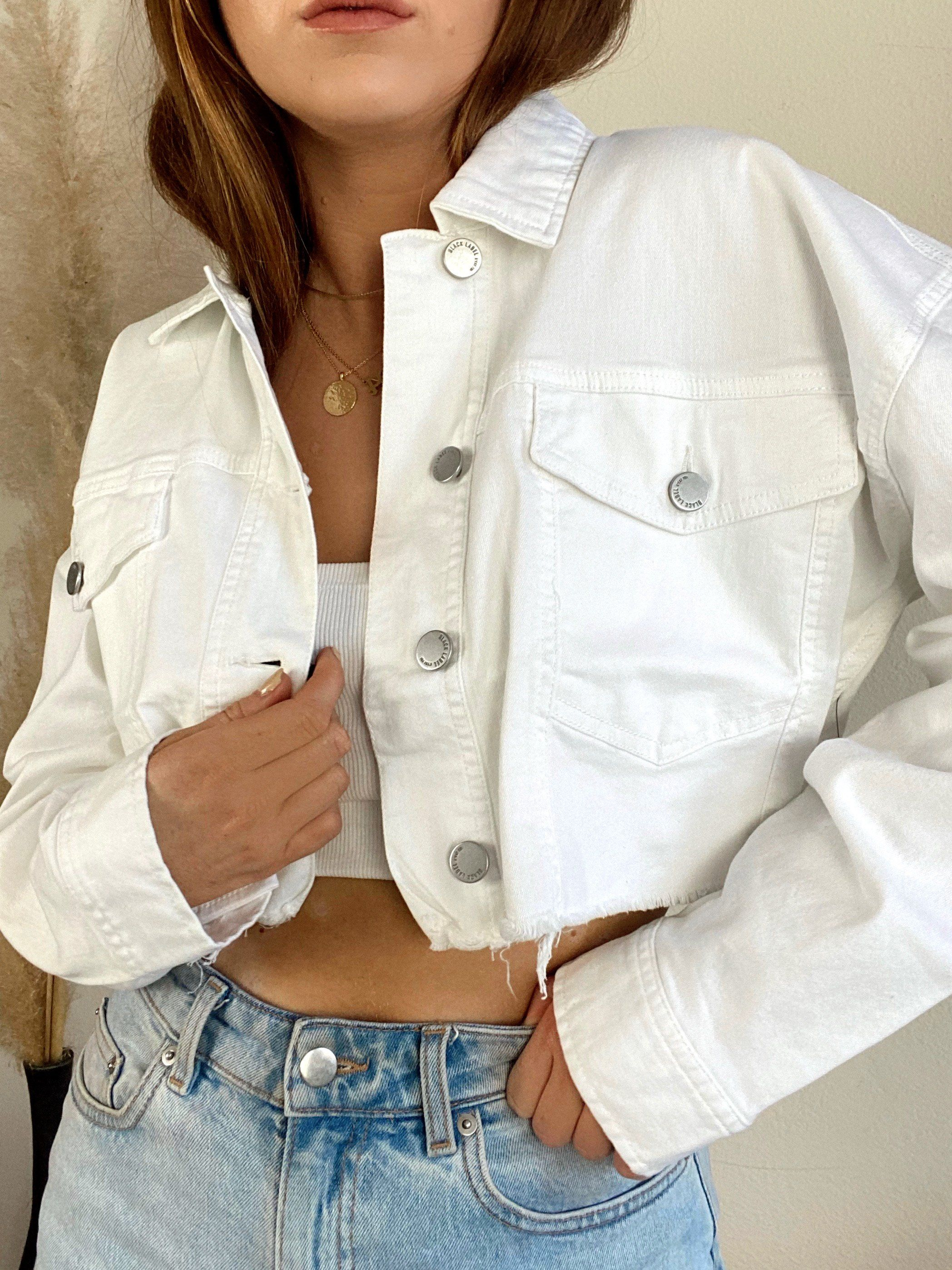 Castaway Cropped White Denim Jacket White Denim Jacket Outfit Cropped Jacket Outfit High Fashion Sweaters [ 2796 x 2096 Pixel ]