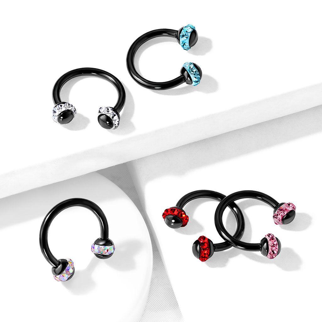 Circular Purple Horseshoe 8mm  EAR EYE Lip Barbell round Ring NIPPLE Jewelry
