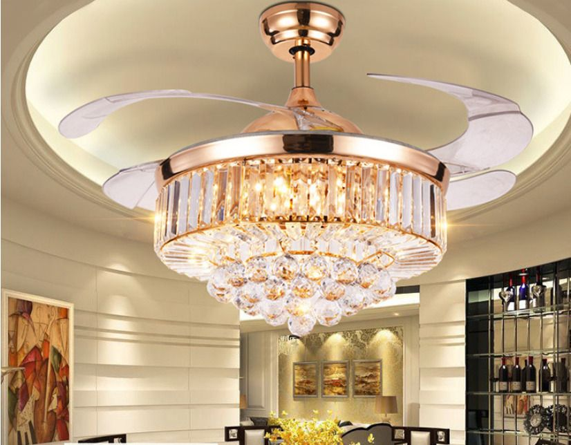 42 Rose Gold Invisible Crystal Ceiling Fan Light Lamp Luxury Led