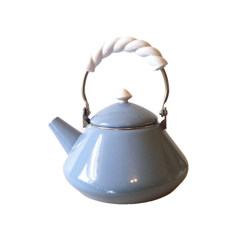 vintage enamel tea kettle light blue enamel tea kettle retro enamel