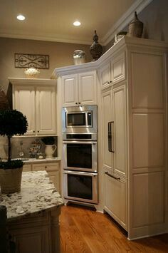 Kitchen: Double Oven With Microwave Installed Above It In The Wall.so Need  A Double Oven In My Dream Kitchen.