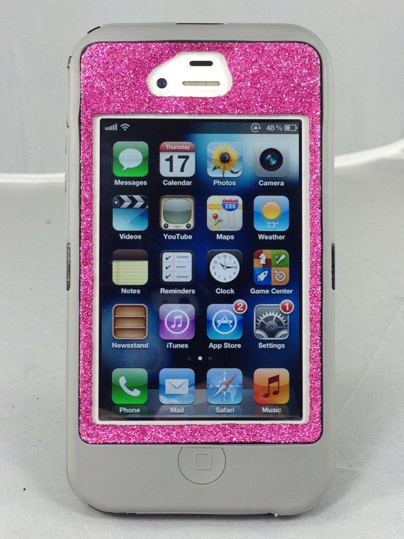 Otterbox Case iPhone 4/4S Glitter Cute Sparkly Bling Defender Series Custom Case Grey/Raspberry