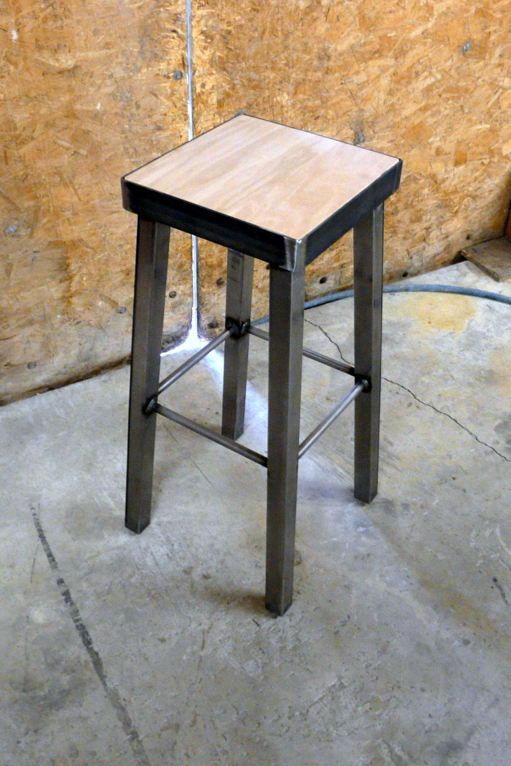 Galvanized Steel Or Bamboo Metal Bar Stool By By Modernindustrial