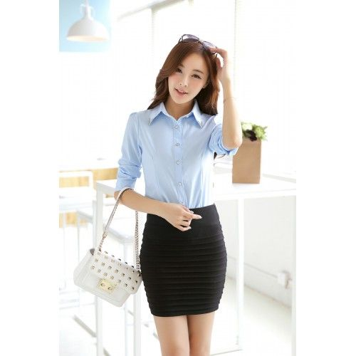 45bf8611f57 Blouses Korean Style Long Sleeve Sequin Chiffon Ladies Office Shirt in Light  Blue Color