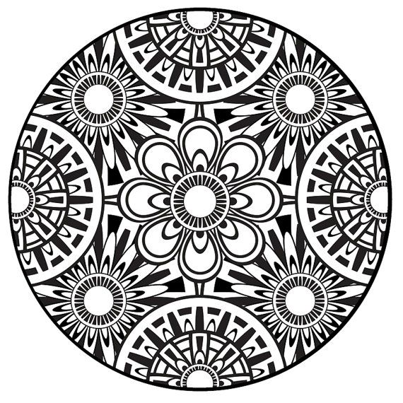 Coloring Page Mandala Instant PDF Download Printable Coloring Page Mandala Art Zentangle